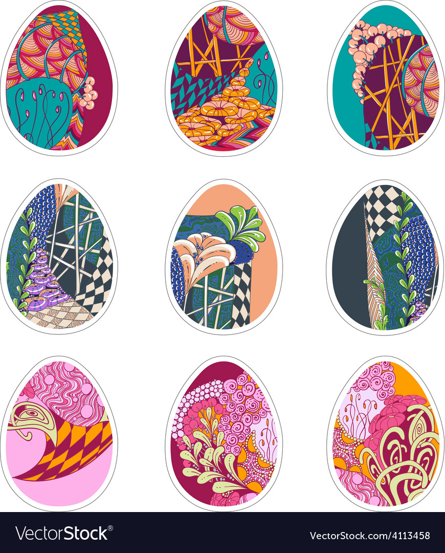 Set of nine easter eggs with zentangle ornament vector | Price: 1 Credit (USD $1)