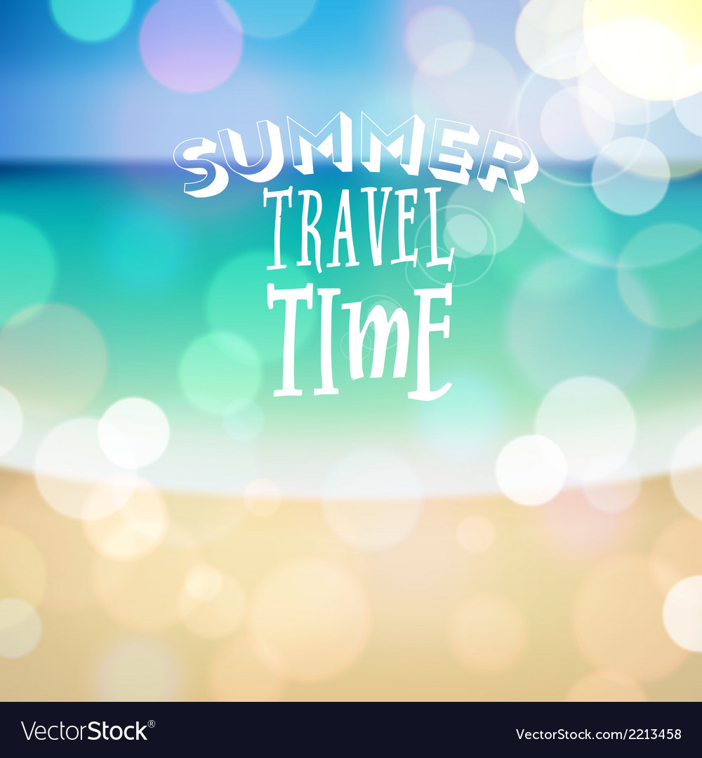 Summer travel time poster on tropical beach backgr vector | Price: 1 Credit (USD $1)
