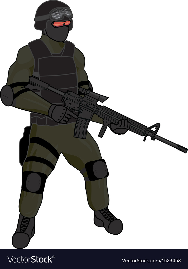Swat team member ar15 green vector | Price: 1 Credit (USD $1)