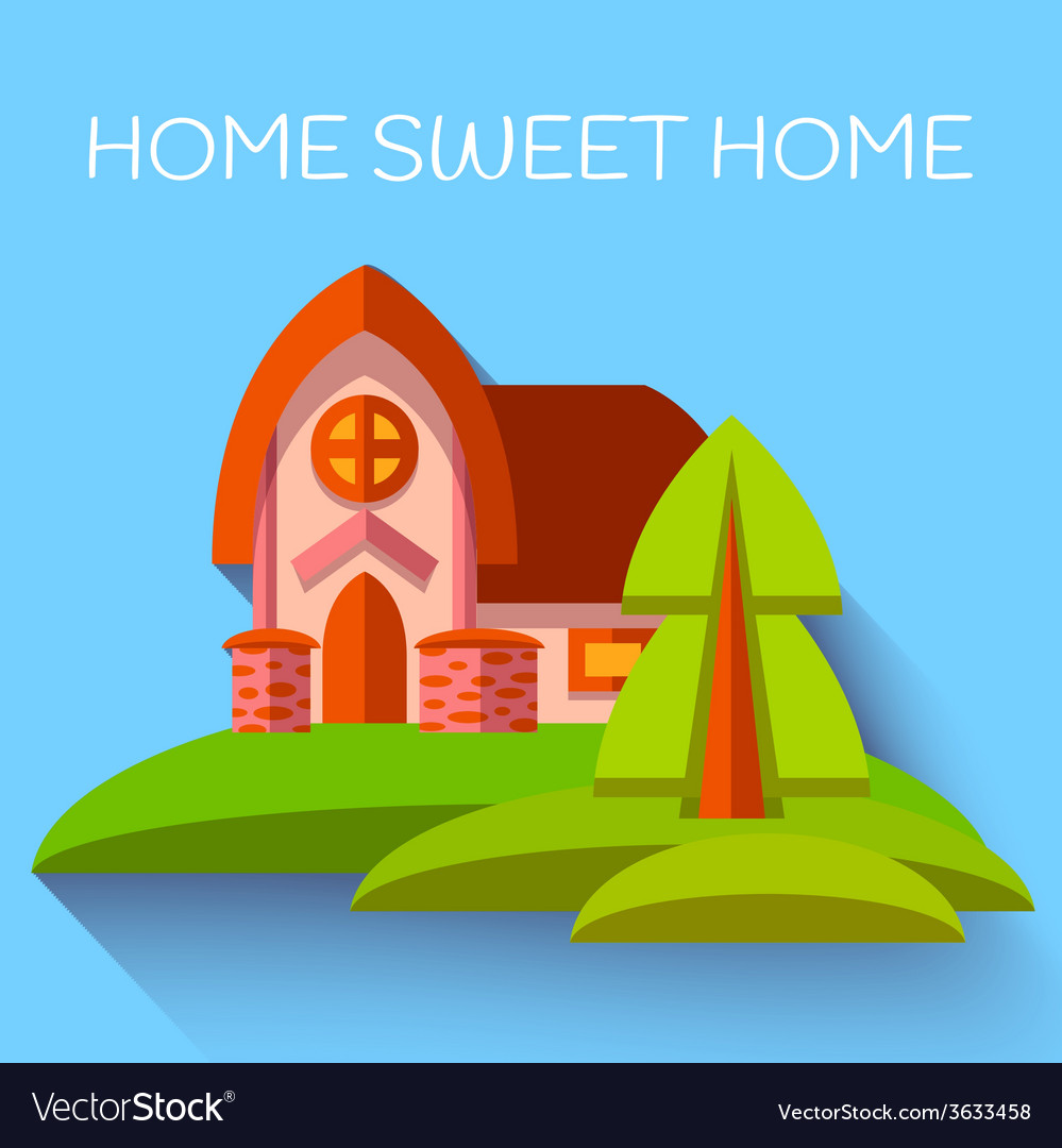 With cute house in flat style vector | Price: 3 Credit (USD $3)