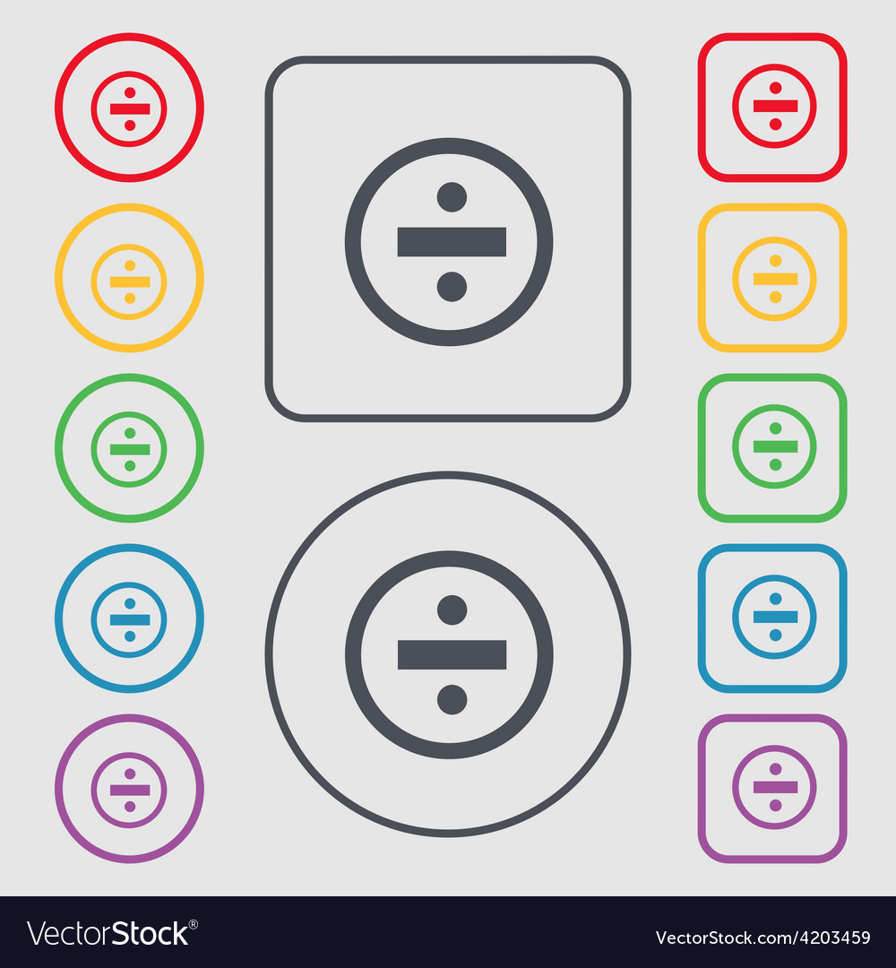 Dividing icon sign symbol on the round and square vector | Price: 1 Credit (USD $1)