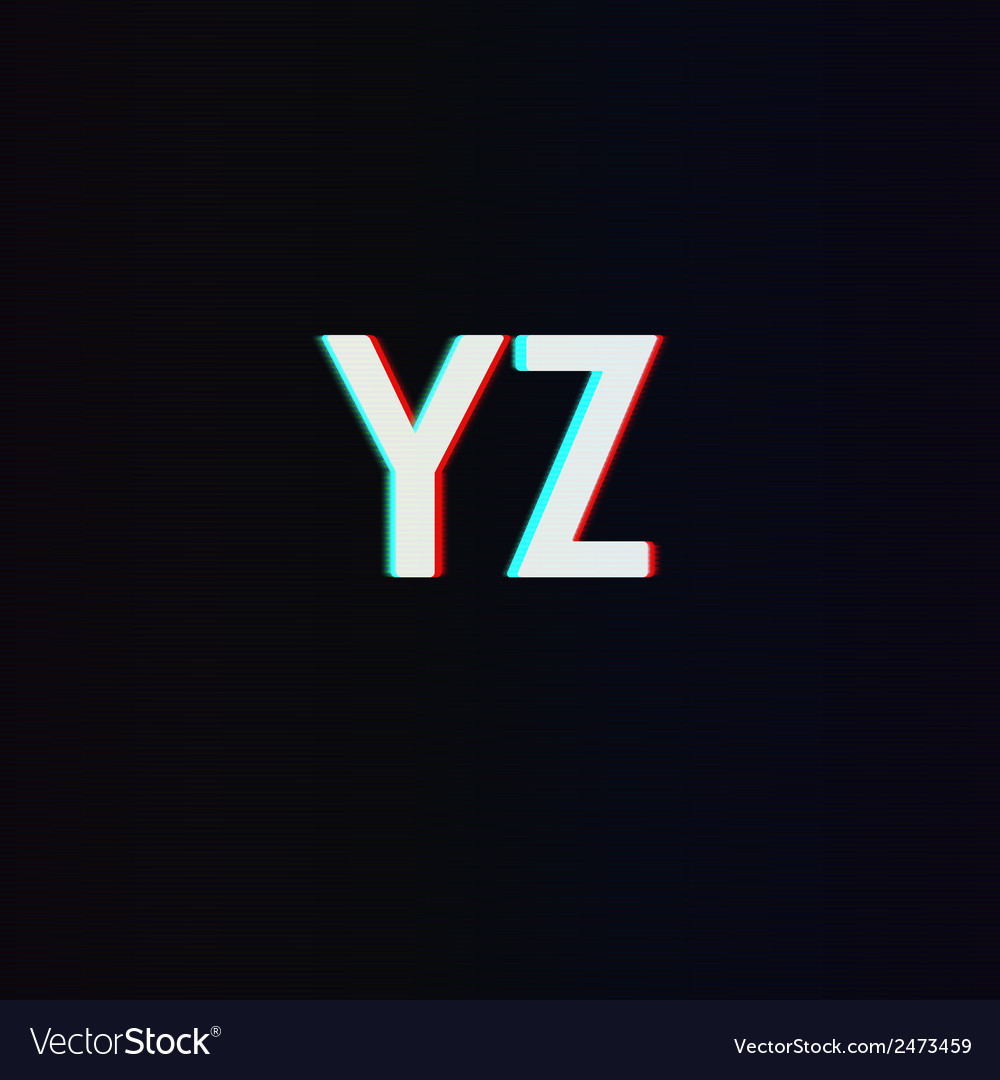 Font with tv stereo effect from y to z vector | Price: 1 Credit (USD $1)