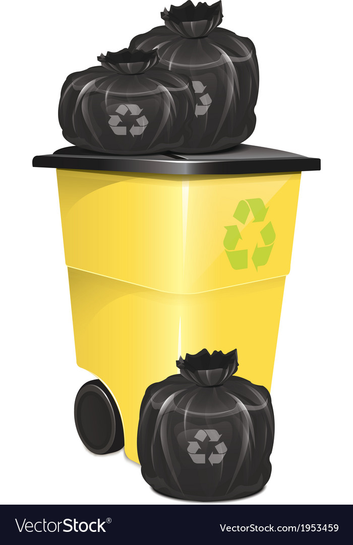 Garbage container with bag vector | Price: 1 Credit (USD $1)