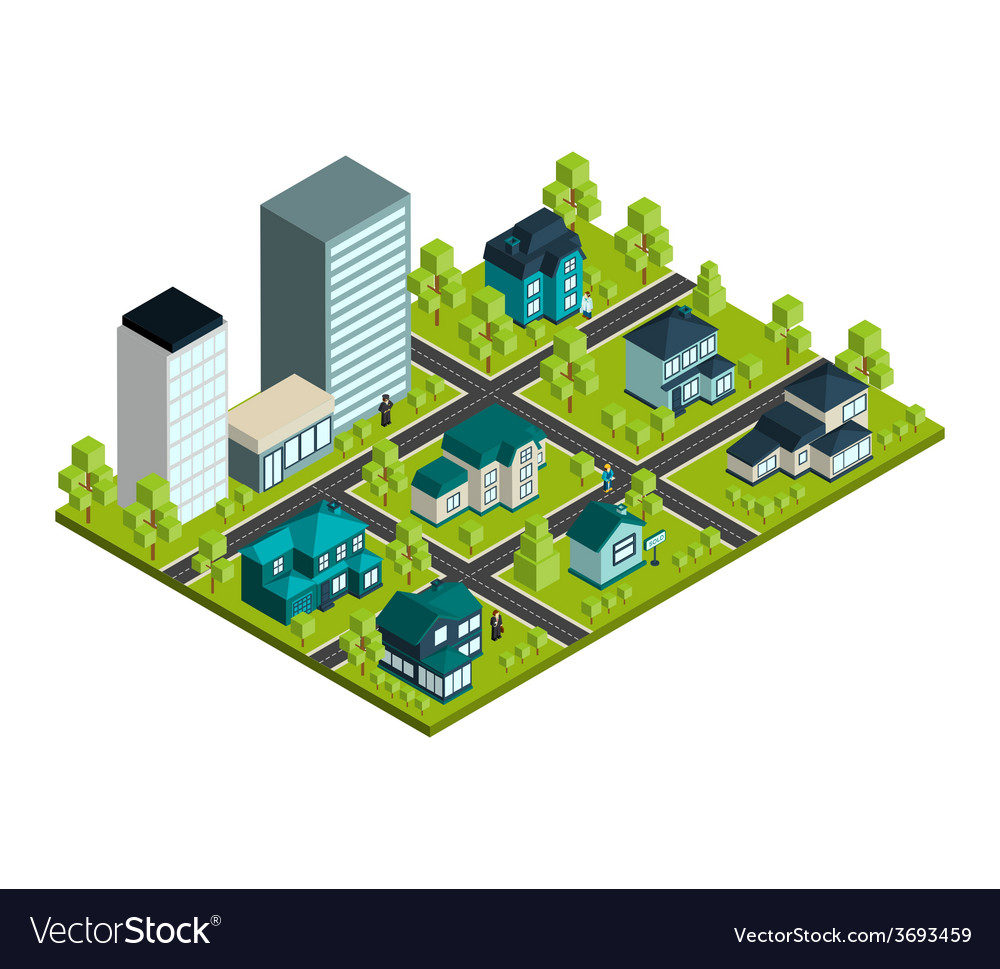 Real estate isometric vector | Price: 1 Credit (USD $1)