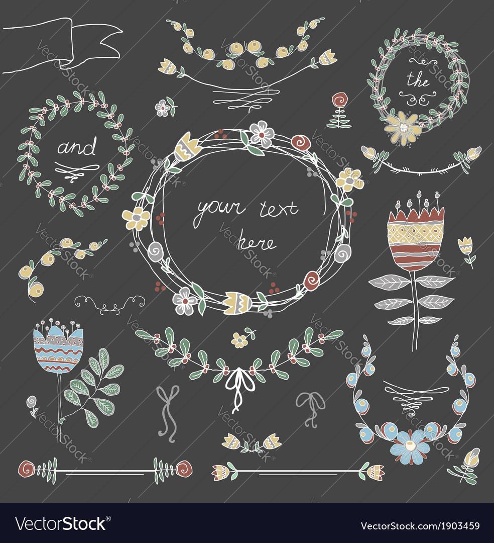 Set of floral design elements vector   Price: 1 Credit (USD $1)