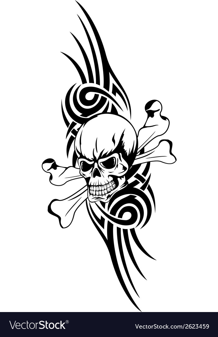 Skull bones tribal vector | Price: 1 Credit (USD $1)