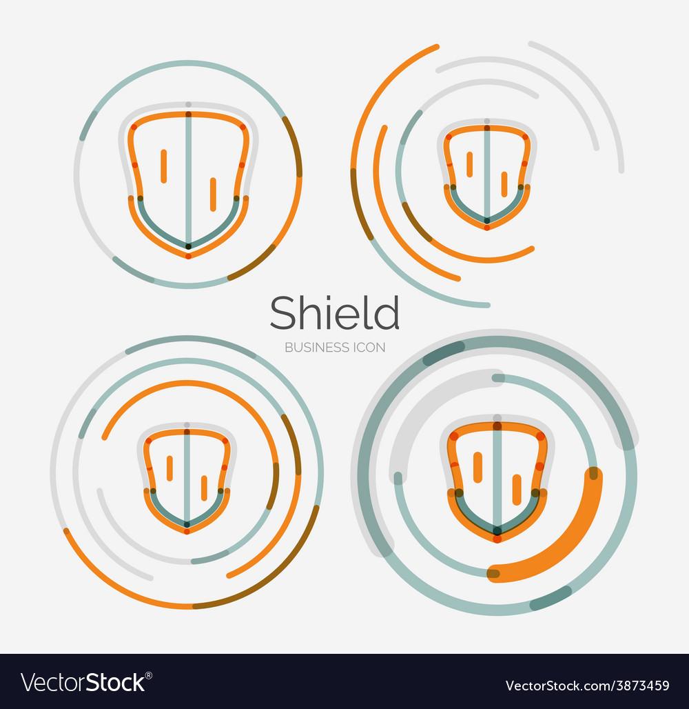 Thin line neat design logo shield icon set vector | Price: 1 Credit (USD $1)