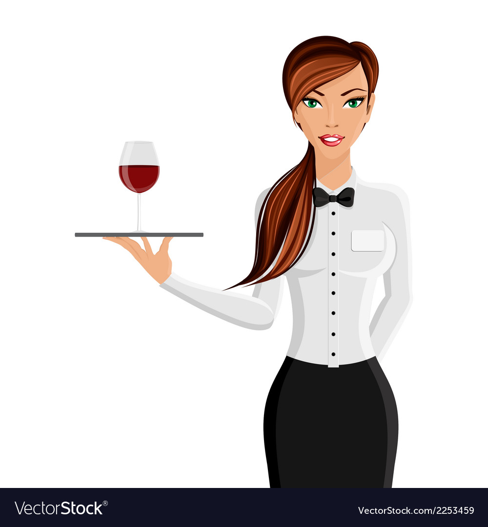 Woman waiter portrait vector | Price: 1 Credit (USD $1)