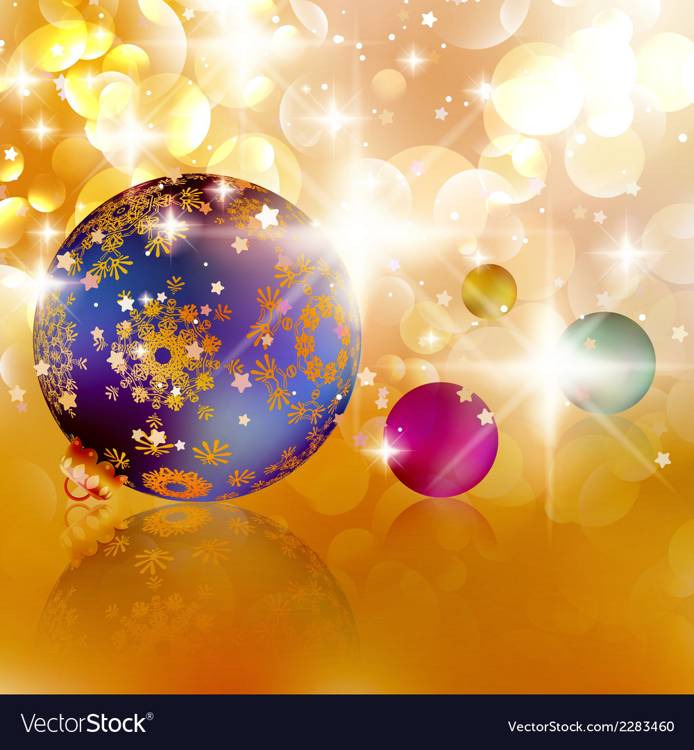 Christmas balls on abstract golden lights vector | Price: 1 Credit (USD $1)