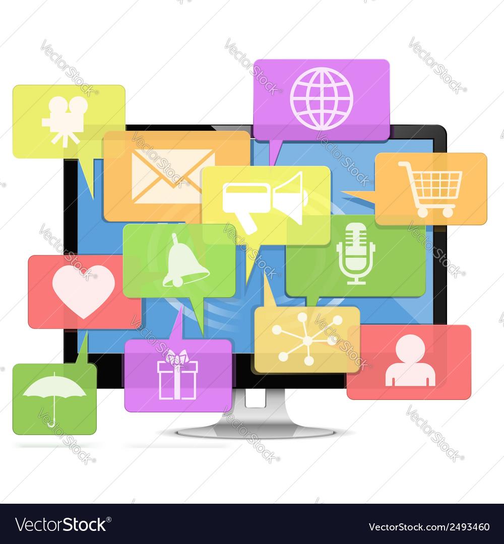 Computer media concept vector | Price: 1 Credit (USD $1)