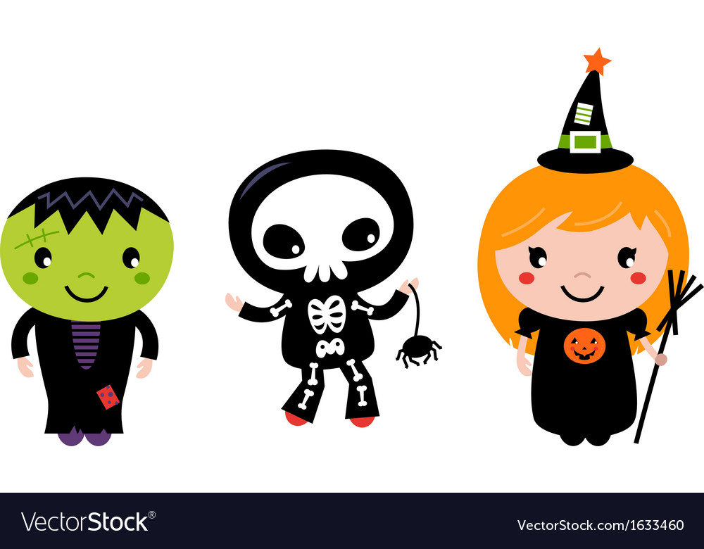 Cute halloween kids  zombie skeleton and witch vector