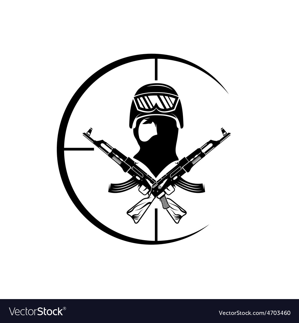 Face of military man with automatic guns and vector | Price: 1 Credit (USD $1)