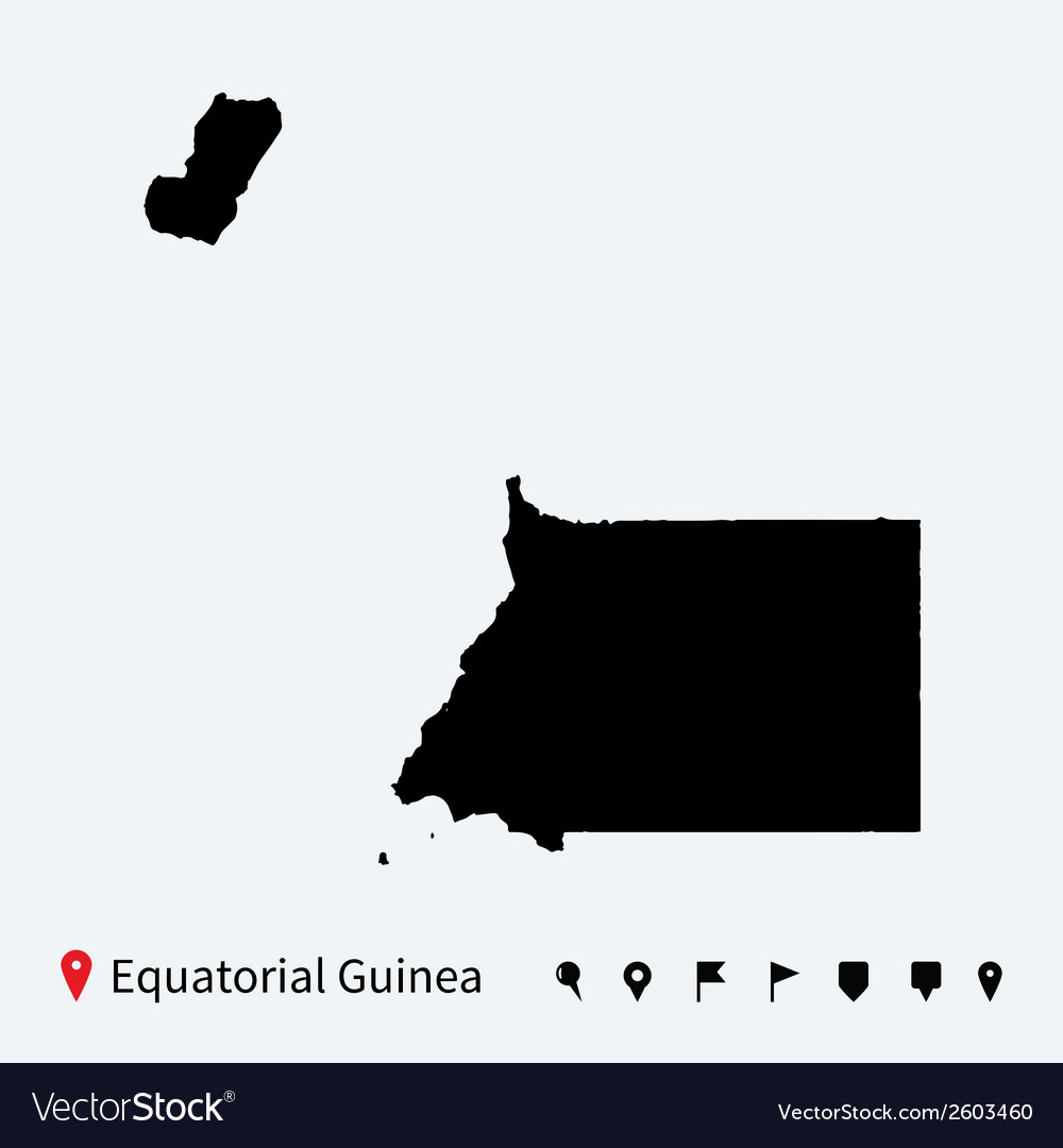 High detailed map of equatorial guinea with pins vector | Price: 1 Credit (USD $1)