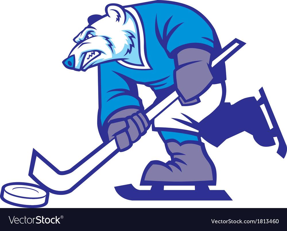 Ice hockey polar bear mascot vector | Price: 1 Credit (USD $1)