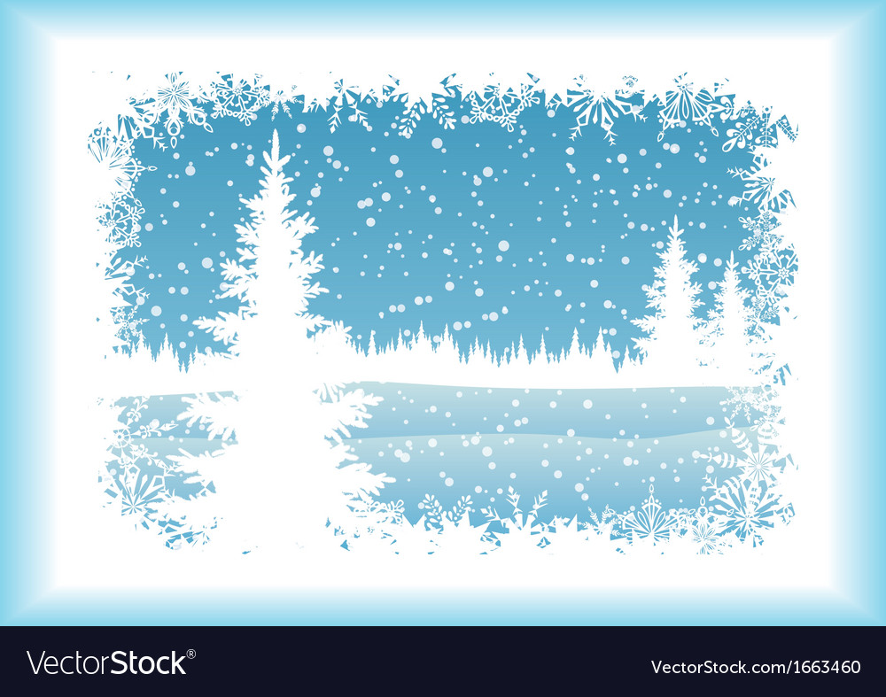 Landscape with christmas tree silhouettes vector | Price: 1 Credit (USD $1)