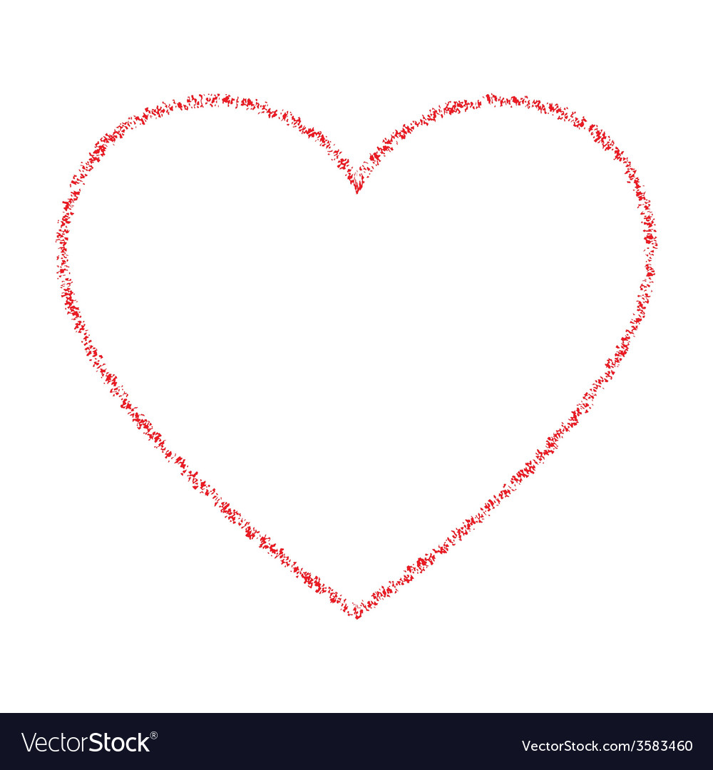 Red hand drawn thin contour grunge heart logo vector | Price: 1 Credit (USD $1)