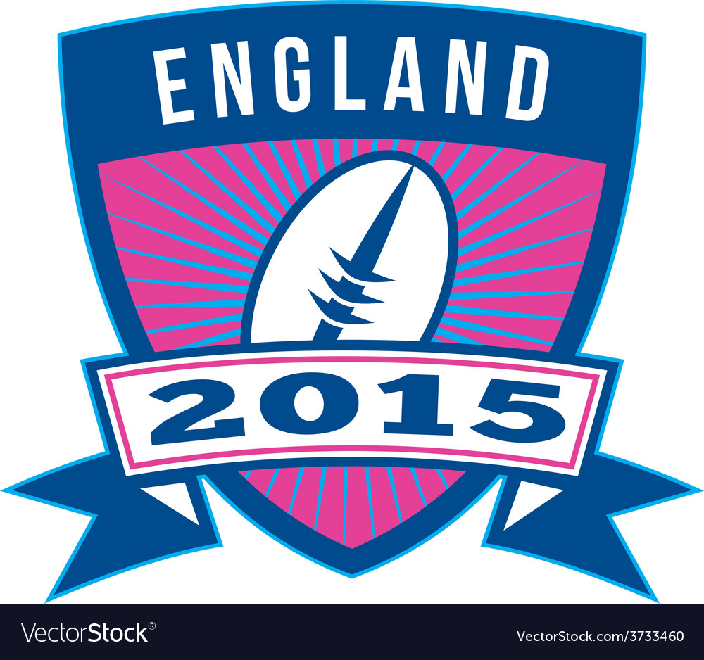 Rugby ball england 2015 shield retro vector | Price: 1 Credit (USD $1)