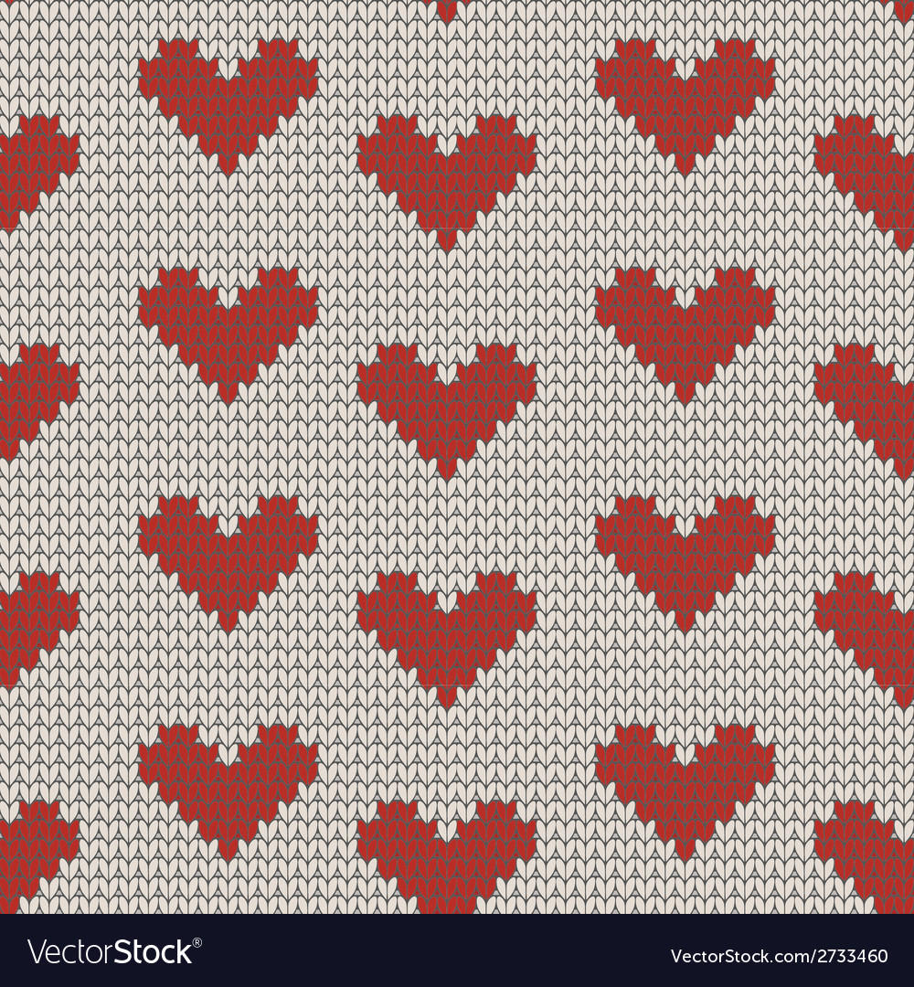 Seamless knitting pattern with hearts vector | Price: 1 Credit (USD $1)