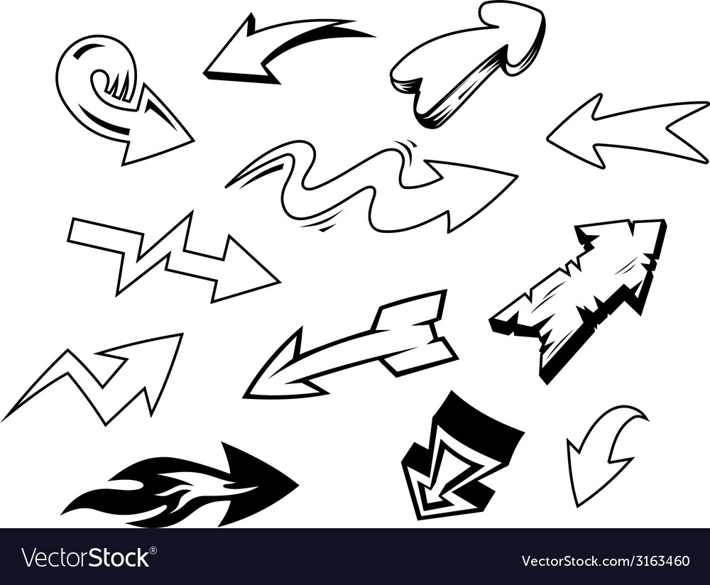 Set of doodle arrows icons vector | Price: 1 Credit (USD $1)