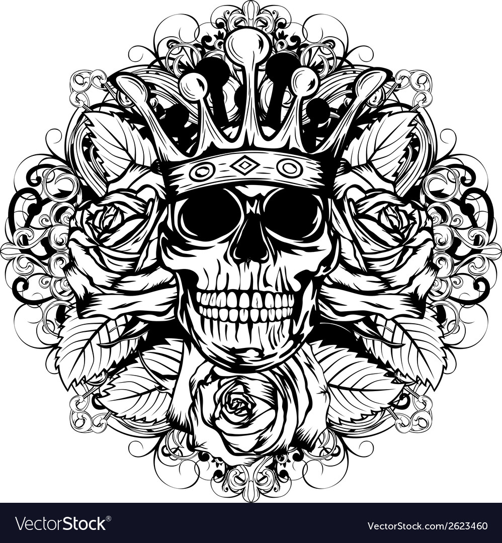 Skull corona rose vector | Price: 1 Credit (USD $1)