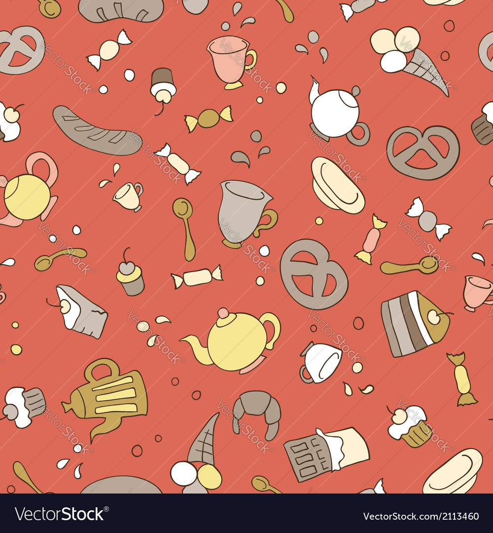 Tea and sweets seamless background vector | Price: 1 Credit (USD $1)