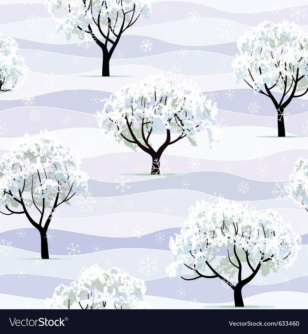 Trees in snow in winter garden seamless vector | Price: 1 Credit (USD $1)