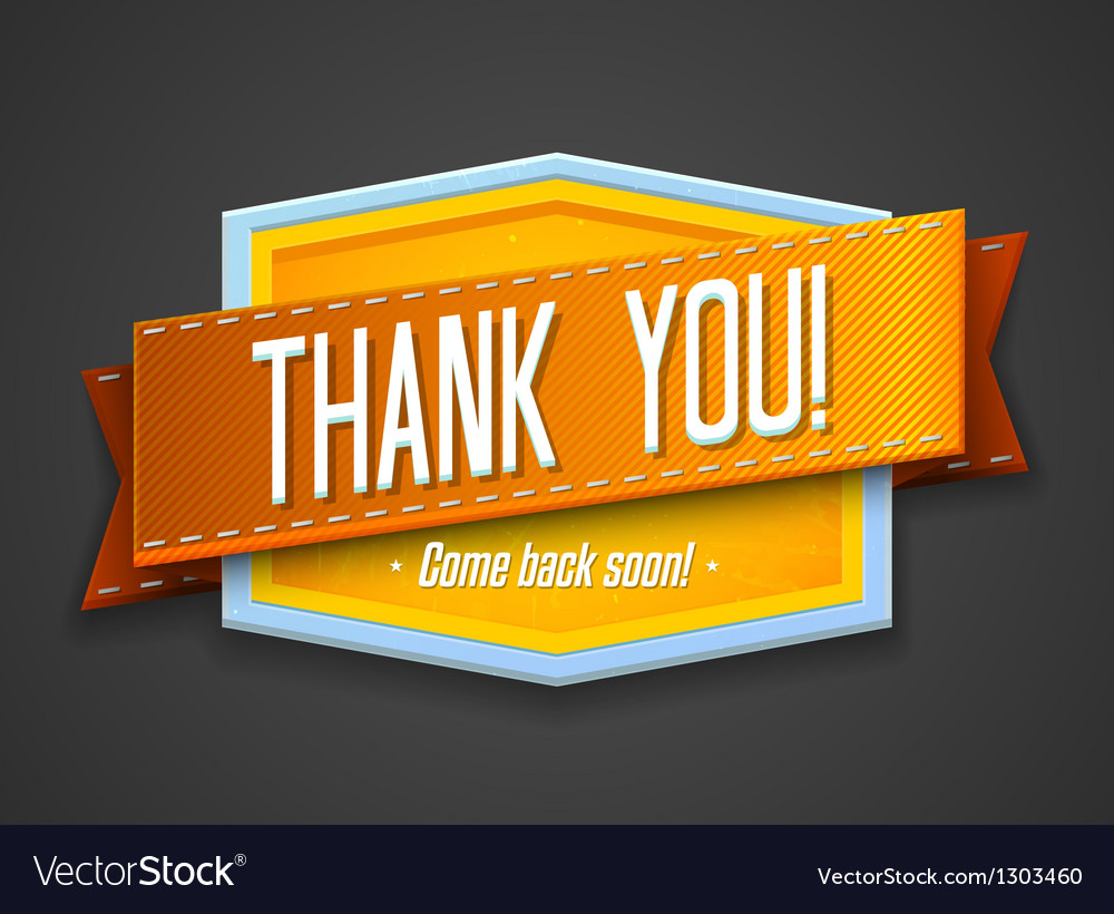 Vintage thank you label vector | Price: 3 Credit (USD $3)