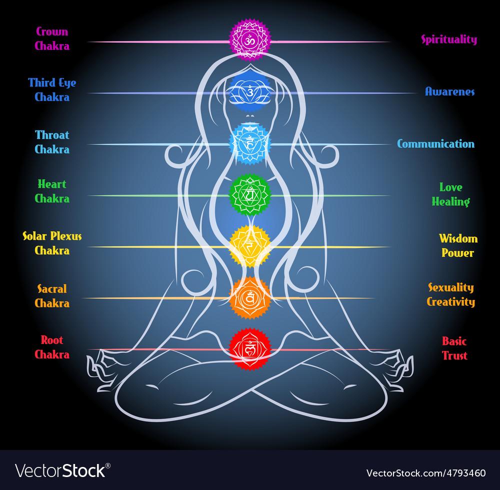 Woman yoga meditation with chakras vector | Price: 1 Credit (USD $1)