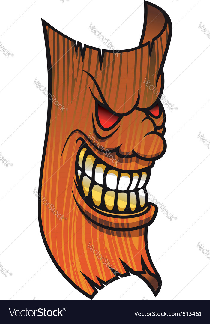 Angry wooden mask vector | Price: 1 Credit (USD $1)