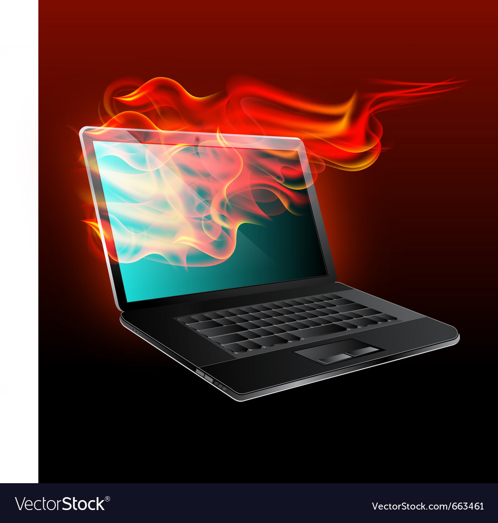 Burning laptop vector | Price: 3 Credit (USD $3)