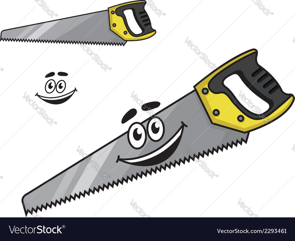 Cartoon handsaw with a happy smile vector | Price: 1 Credit (USD $1)