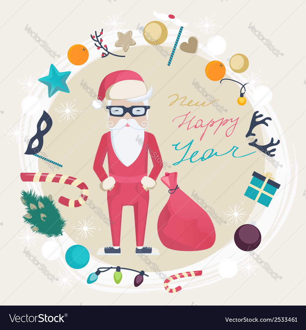 Christmas and new year card with funny santa claus vector | Price: 1 Credit (USD $1)