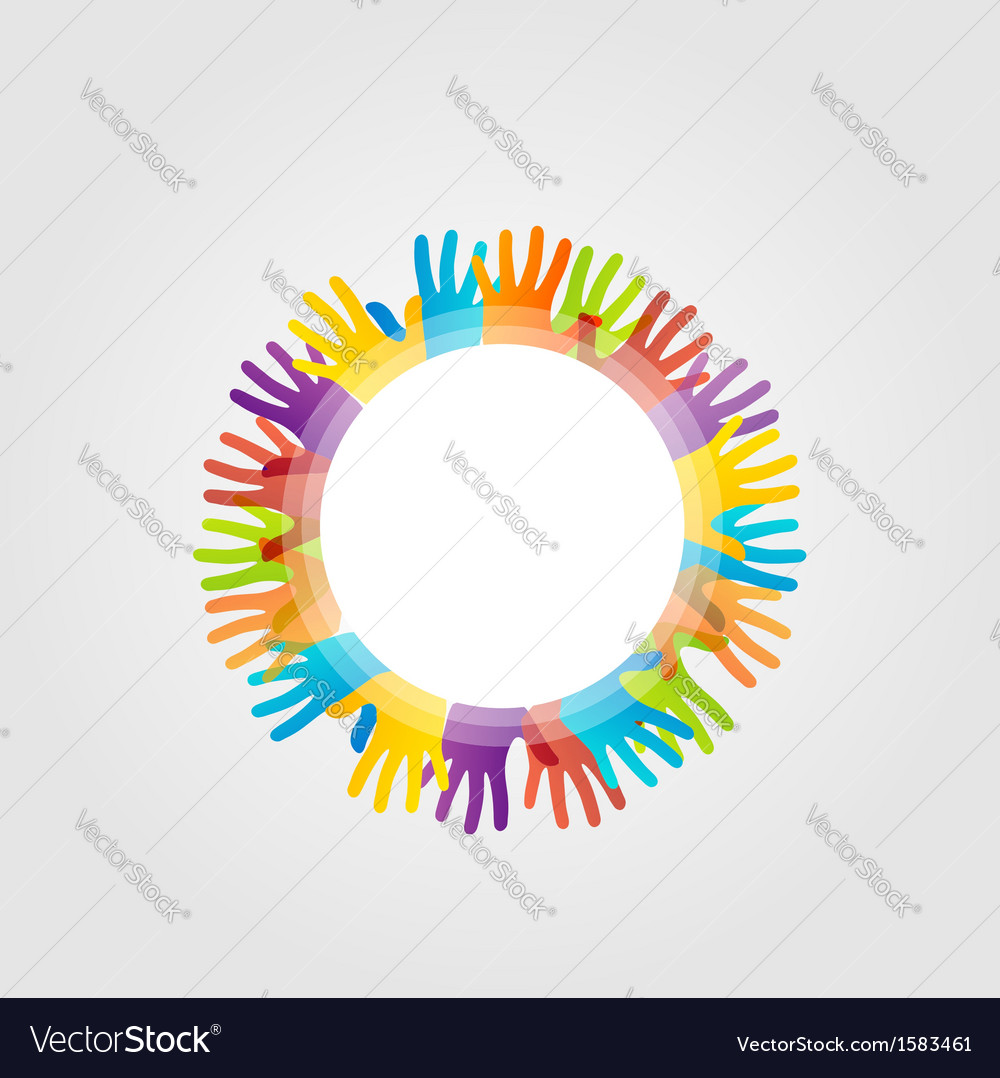 Decorative design element with colorful hands vector | Price: 1 Credit (USD $1)