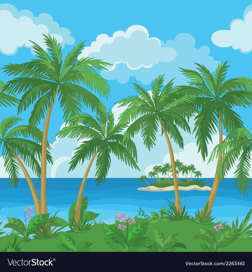 Exotic seamless tropical sea landscape vector | Price: 3 Credit (USD $3)