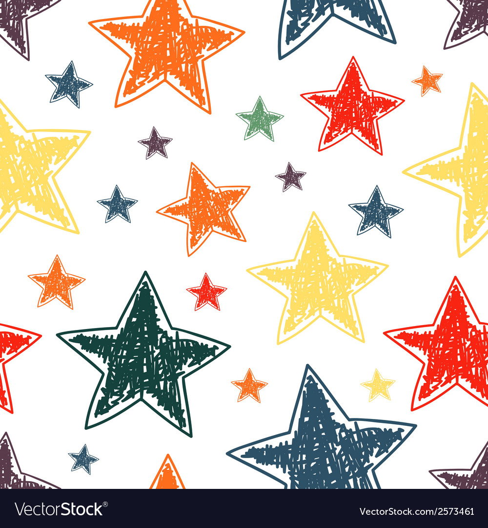 Hand drawn stars seamless pattern vector | Price: 1 Credit (USD $1)