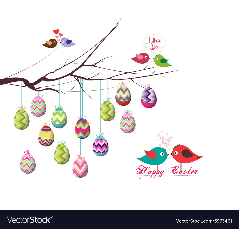 Happy easter eggs and couple bird vector | Price: 1 Credit (USD $1)