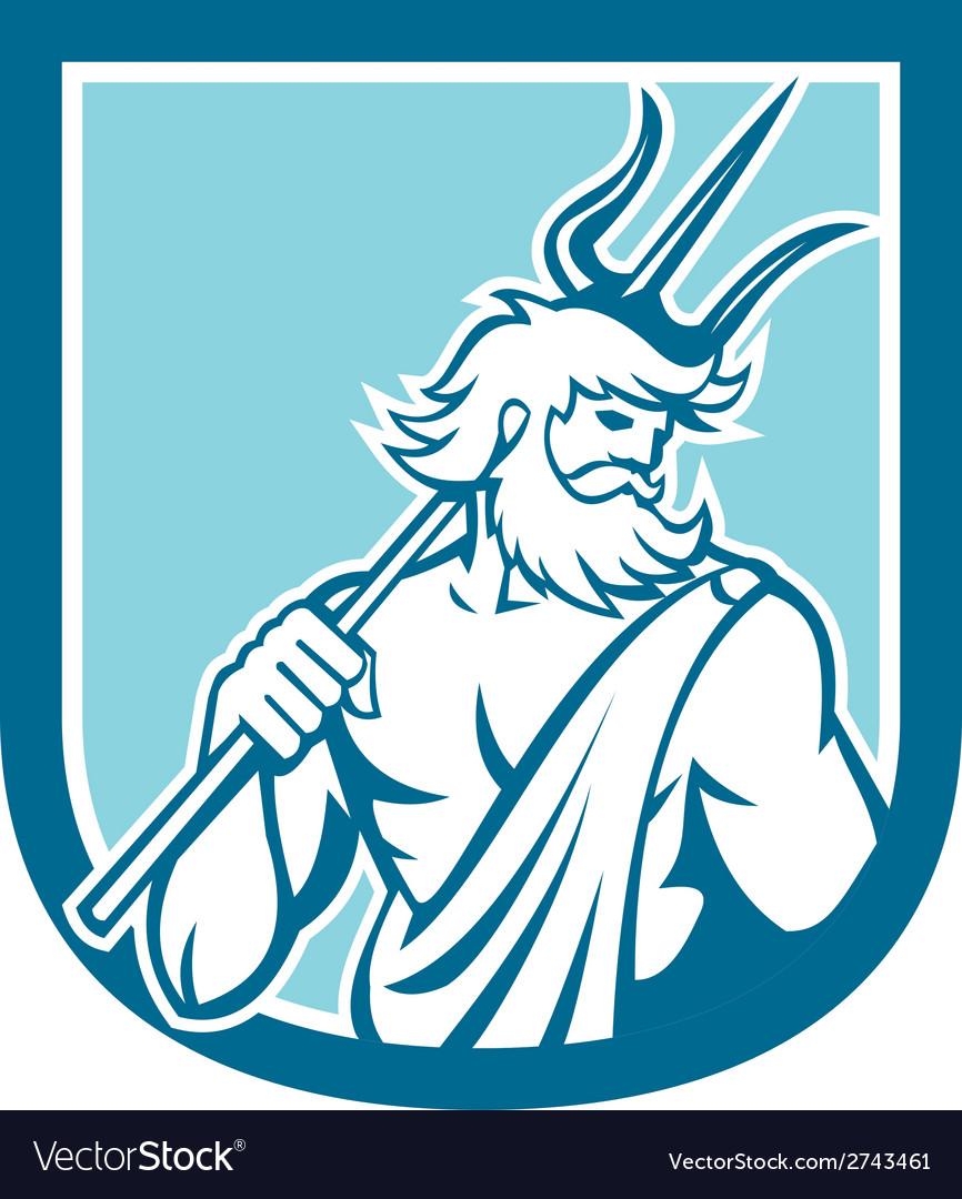 Neptune poseidon trident shield retro vector   Price: 1 Credit (USD $1)
