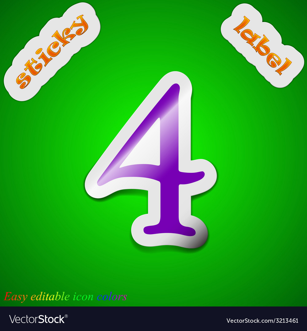 Number four icon sign symbol chic colored sticky vector   Price: 1 Credit (USD $1)