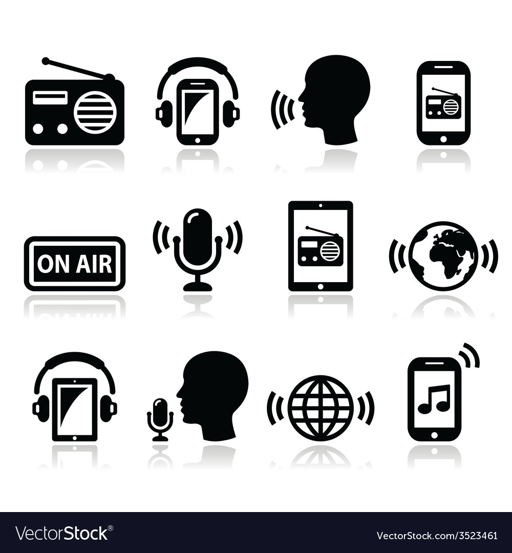 Radio podcast app on smartphone and tablet icons vector | Price: 1 Credit (USD $1)