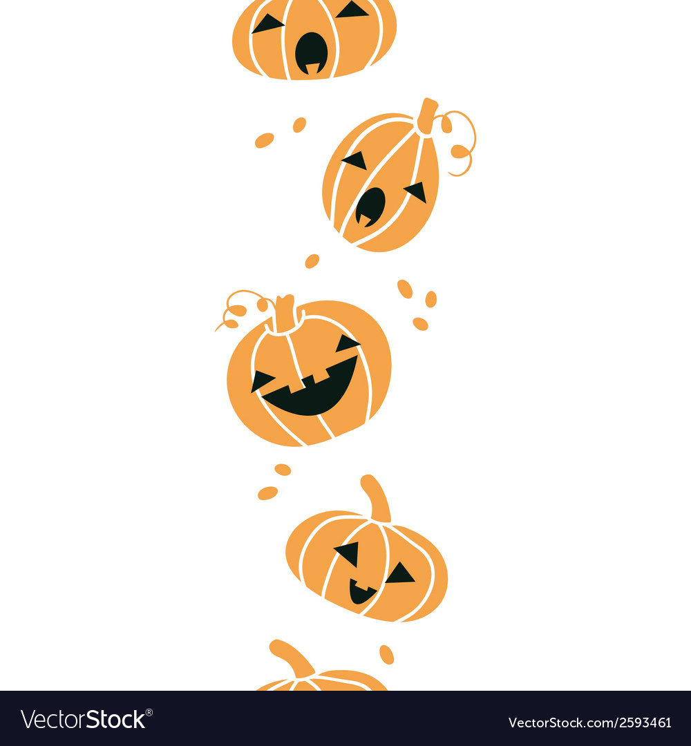 Smiling halloween pumpkins vertical seamless vector | Price: 1 Credit (USD $1)