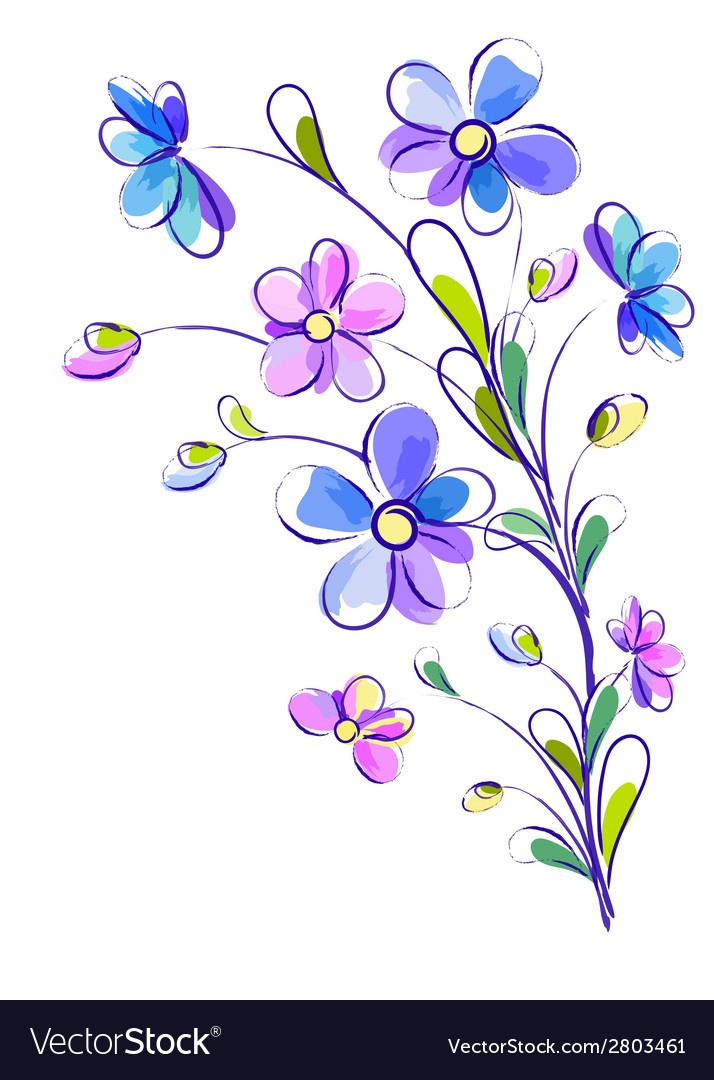 Vertical background with bright violet flowers vector | Price: 1 Credit (USD $1)