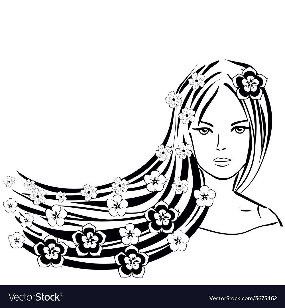Abstract girl with flowers in the hair sum vector | Price: 1 Credit (USD $1)
