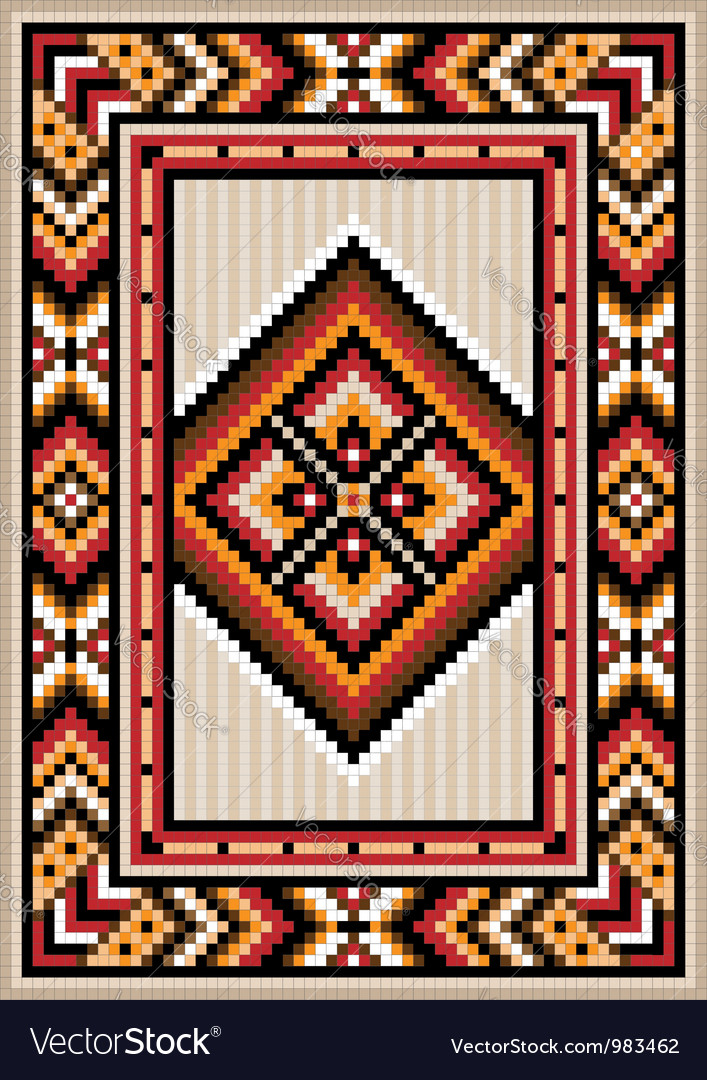 Asian design in the frame for carpet vector | Price: 1 Credit (USD $1)