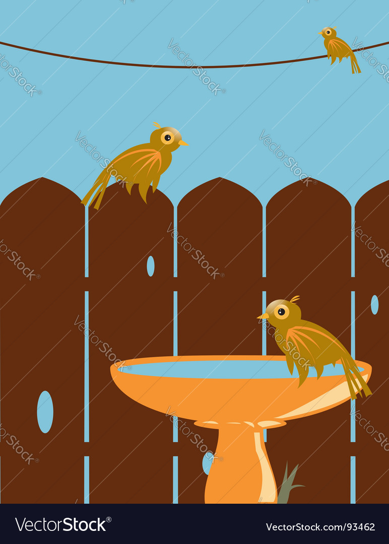 Birds in backyard vector | Price: 1 Credit (USD $1)