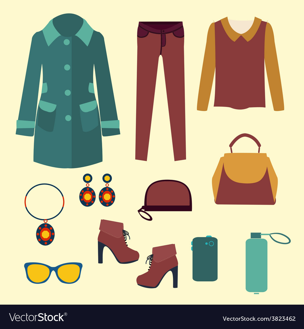 Fashion look flat accessories for women vector | Price: 1 Credit (USD $1)