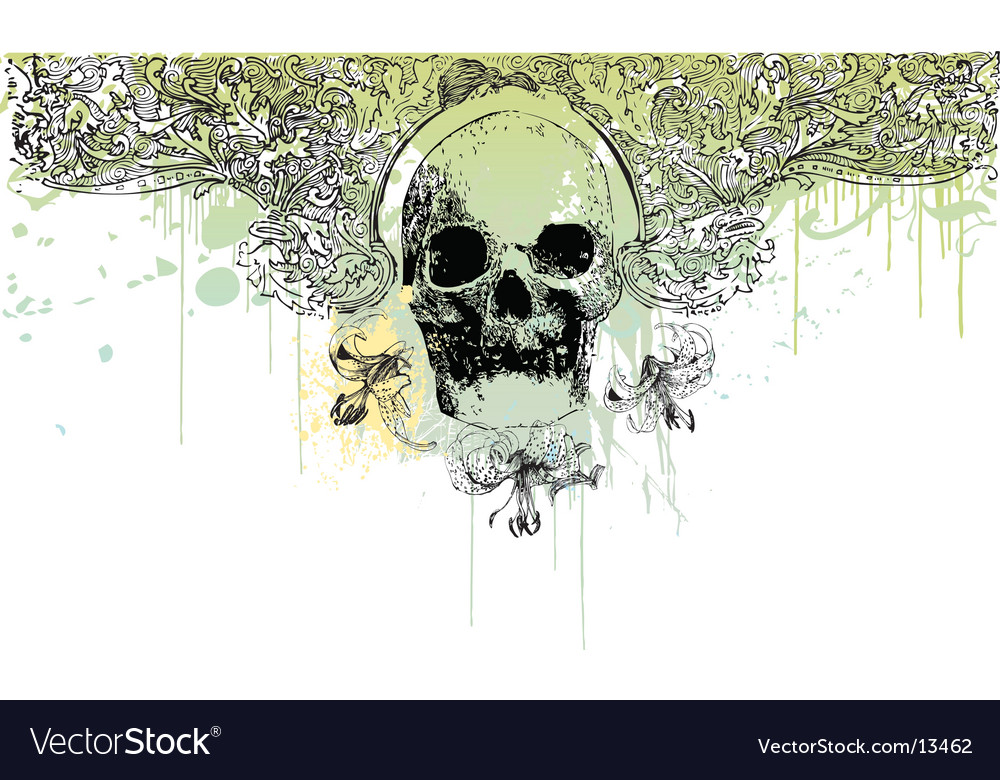 Grunge skull illustration vector | Price: 3 Credit (USD $3)