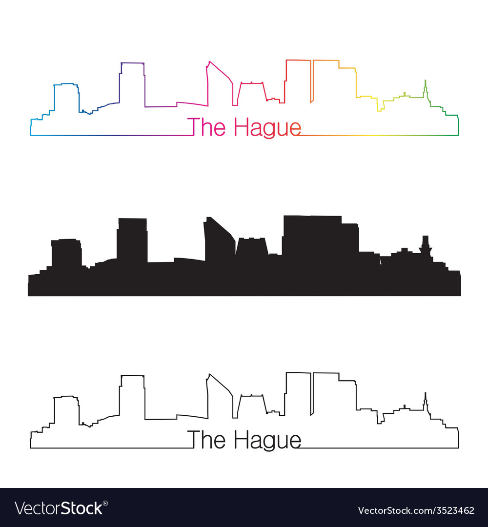 The hague skyline linear style with rainbow vector | Price: 1 Credit (USD $1)
