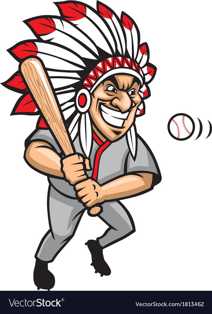 Indian chief baseball mascot vector | Price: 1 Credit (USD $1)