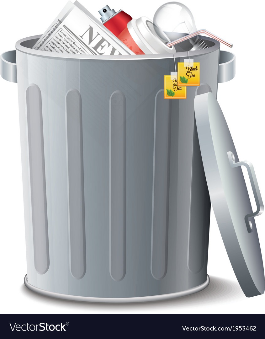 Iron bin with garbage vector | Price: 1 Credit (USD $1)