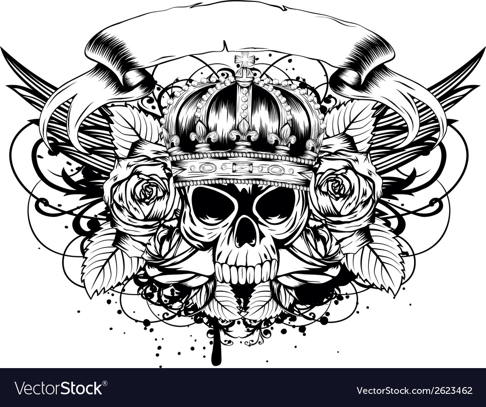 Skull corona roses vector | Price: 1 Credit (USD $1)